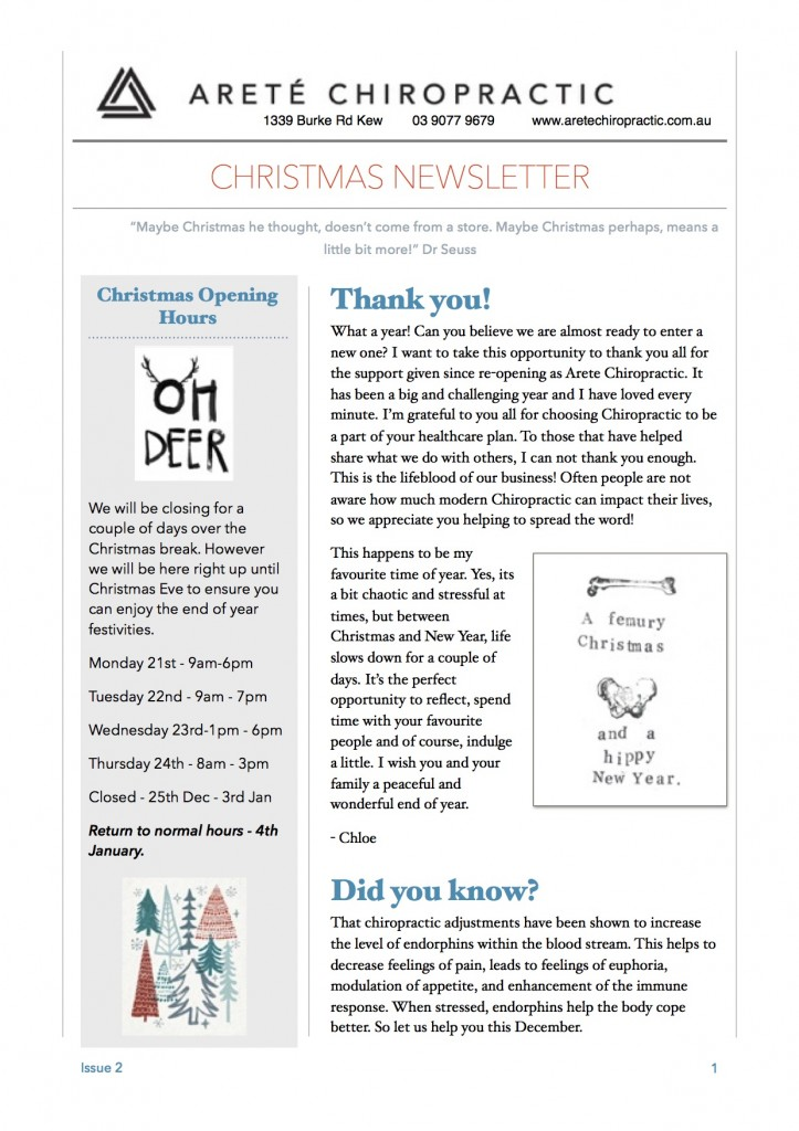 Arete Newsletter Page 1